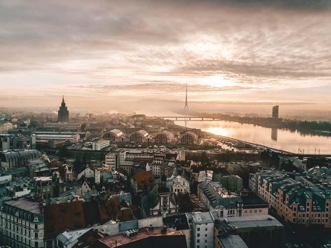 Baltic landscape from Bird eye view - Riga